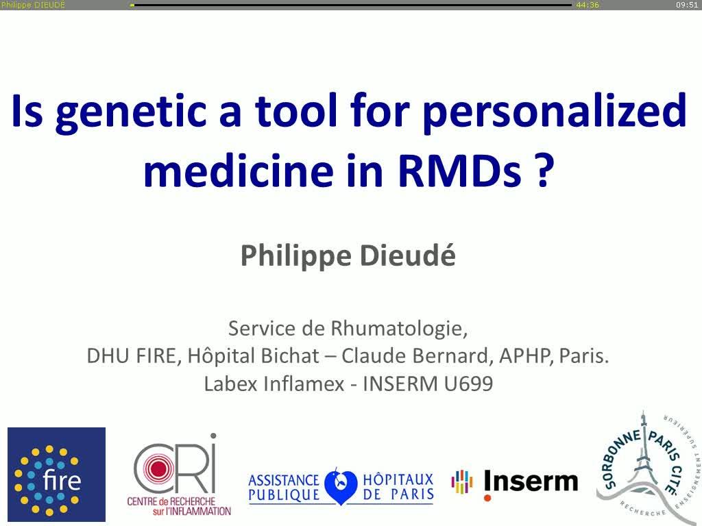 Est-ce que la génétique est un outil pour une médecine personnalisée dans les rhumatismes inflammatoires ?
