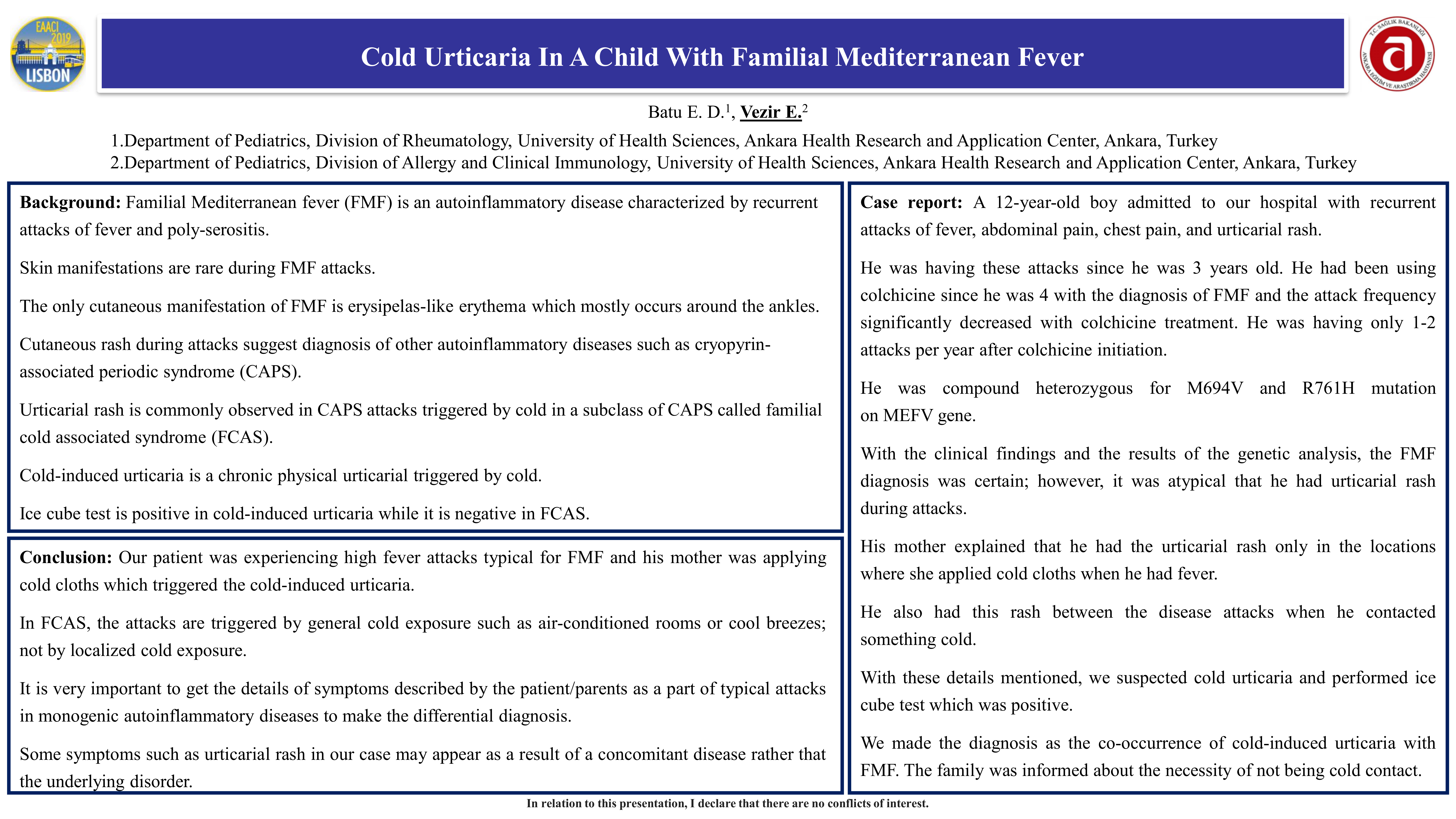 Cold urticaria in a child with familial mediterranean fever